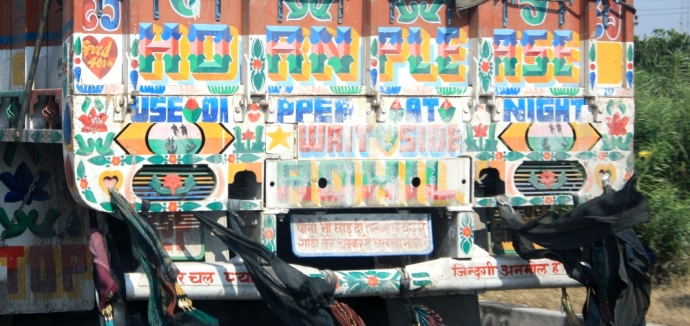 graffiti  behind a truck in India